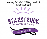 Summer Series Beg Level 1-2 Mondays 7/19 & 7/26 3:30-5:30 pm