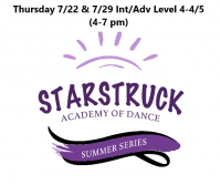 Summer Series Int/Adv Level 4-4/5 Thursdays 7/22 & 7/29 4-7 pm